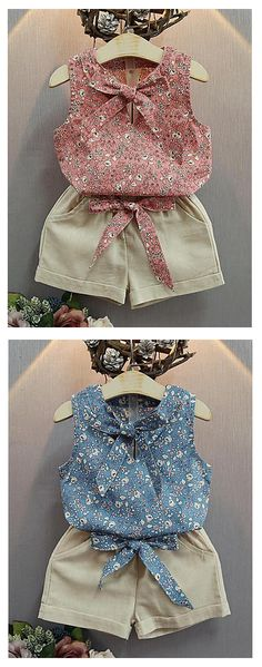 Vintage French style baby girl summer cotton two piece set costume (sleeveless top + shorts) at just $12.74. Comes in blue and pink colors.
