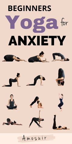 Yoga is great for managing anxiety. Learn how yoga helps to reduce common symptoms & get started with 12 easy yoga poses for anxiety | amosuir.com | Yoga and anxiety, yoga for stress and anxiety, benefits of yoga for anxiety, does yoga help with anxiety, yoga for anxiety and stress, yoga helps anxiety, gentle yoga for anxiety, yoga for anxiety beginners, anxiety exercise, anxiety reliefs, how to relieve anxiety, stress anxiety relief, ways to relieve anxiety, reduce anxiety naturally Easy Yoga Poses, Yoga Poses For Beginners, Fitness Workout For Women, Yoga Fitness, Workout Routines, Yoga Workouts, Fitness Exercises, Natural Anti Anxiety, Beautiful Yoga Poses