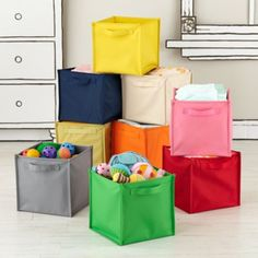 Canvas Cube Bin & Kids Storage: Canvas Number Storage Bins in Storage Collections ...