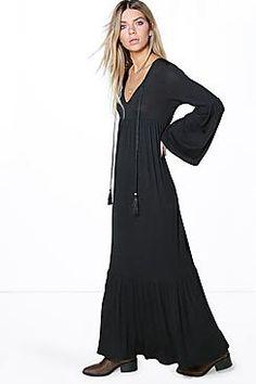 Natasha Rope Tie Neck Tiered Maxi Dress