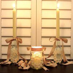 Linen, Lace, & Love: DIY: Beer Bottle Candle Stick Holders and Pickle Jar Votives