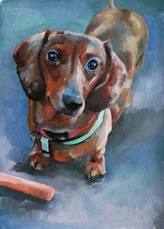 Items similar to Custom pet portrait, dog, miniature dachshund - oil on paper on Etsy Dapple Dachshund Puppy, Dachshund Funny, Dachshund Puppies For Sale, Arte Dachshund, Dachshund Love, Daschund, Dachshund Tattoo, Dachshund Drawing, Puppy Drawing
