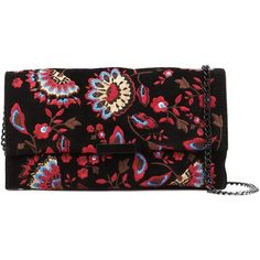 Loeffler Randall floral embroidered clutch (3.460 DKK) ❤ liked on Polyvore featuring bags, handbags, clutches, black, embroidered purse, suede handbags, embroidered handbags, loeffler randall handbags and print handbags