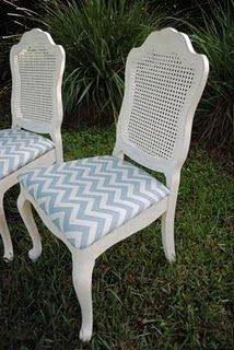 Love the cane backing, and the chevron striped fabric...maybe do this for my chair I need to re-upholster???