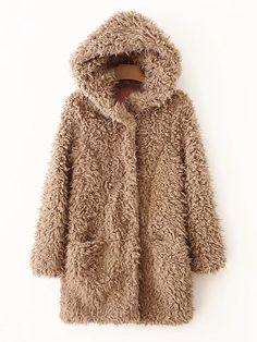 Long Brown Coat, Brown Faux Fur Coat, Faux Fur Hooded Coat, Coats For Women, Jackets For Women, Khaki Coat, Teddy Coat, Hollywood Stars, Fur Jacket