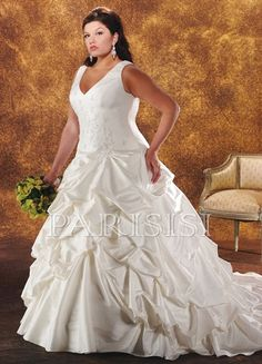 Plus Size Wedding Dress Taffeta White V-Neck Long A-Line price USD $382 - PARISISI ONLINE DISCOUNT SHOP