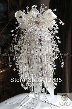 Handmade Swarovski AB Cascading Crystal Bouquet – weddings idea's – hand Wedding Brooch Bouquets, Bride Bouquets, Flower Bouquet Wedding, Bling Bouquet, Flower Bouquets, Boquette Wedding, Bling Wedding, Wedding Ideas, Crystal Wedding