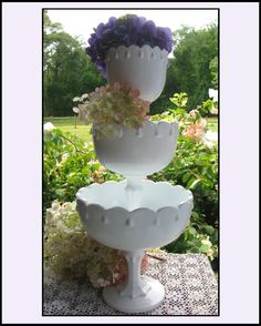 Pretty milk glass display! I have this set!