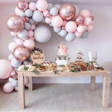 Eanjia Balloon Arch & Garland Kit Double-Stuffed Pink Gray Rose Gold Confetti Balloons Bulk for Wedding Baby Shower Birthday Party Shop Decoration Deco Baby Shower, Girl Shower, Shower Party, Baby Shower Parties, Baby Shower Themes, Baby Showers, Baby Shower Table, Shower Set, Baby Shower Pink