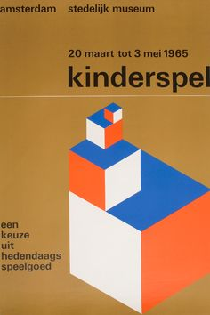 Stedelijk Museum Poster, 1965 Wim Crouwel is a Dutch graphic designer and typographer. He studied Fine Arts at Academie Minerva in Groningen, The Netherlands, and typography at the Gerrit. Vintage Graphic Design, Graphic Design Illustration, Graphic Design Inspiration, Retro Design, Design Poster, Design Art, Poster Designs, International Typographic Style, Stefan Sagmeister