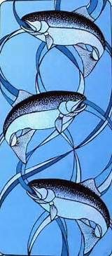 stained glass salmon - Yahoo Image Search results Stained Glass Panels, Leaded Glass, Stained Glass Art, Fused Glass, Stained Glass Projects, Stained Glass Patterns, Good Day Sunshine, Tiffany Art, Glass Animals
