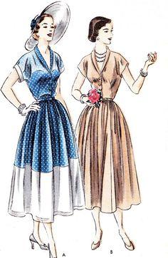 1940s Dress Pattern Vogue 6791 Womens Full Skirt by paneenjerez, $25.00