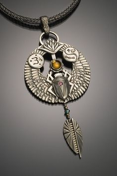 Egyptian themed metal clay pendant by MetalClay4U.