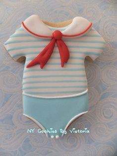 A #Sailor #Onesie with a white collar and #Red... - NY Cookies By Victoria