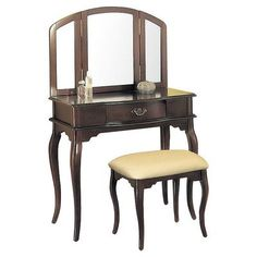 espresso vanity set with bench. Coaster Hand Painted Wood Makeup Vanity Table Set with Mirror in Ivory  Learn more by visiting the image link Desk Pinterest table