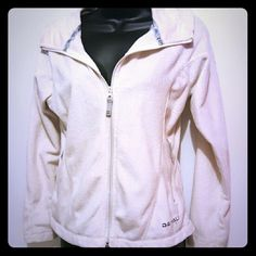 Soft cream jacket 100%polyester. Gently worn jacket. Perfect for transition from winter to spring. Not a heavy jacket. Has 2 pockets that zip up. Denali Jackets & Coats Utility Jackets