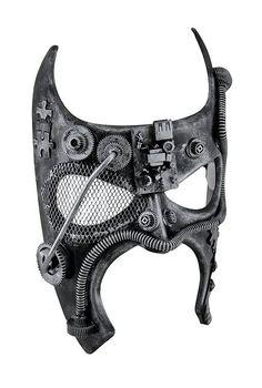 Metallic Steampunk Bat Fantasy Half Face Masquerade Mask (Silver)