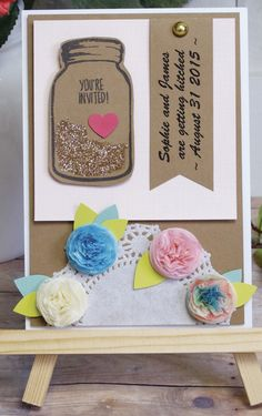 Craft DIY invitations for your upcoming summer wedding! Click in for step-by-step instructions on how to create personalized invites with tissue paper flowers and mason jar stamps. Add a little glitter and the event details and they'll be ready to send off. http://www2.fiskars.com/Ideas-and-How-Tos/Crafting-and-Sewing/Parties-and-Entertaining/simple-summer-wedding-invites?utm_source=Pinterest&utm_medium=Pin%2BDescription&utm_content=2.24.16%2BSummerWed&utm_campaign=Hiebing%2BSocial