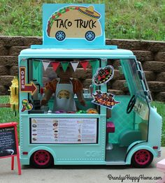 Create an adorable doll sized taco truck from by recycling the Our Generation ice cream truck! This doll sized Mexican food truck has twelve printables.