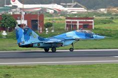 """Bangladesh Air Force Mikoyan MiG-29UB """"Fulcrum-B"""" departing Dhaka-Shahjalal"""