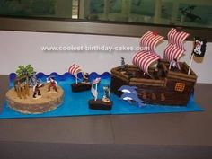 Homemade Pirate Ship Cake: I made this homemade pirate ship cake for my son's 7th birthday.  I used 2 boxed marble cake mixes and canned frosting to make the base of this ship and