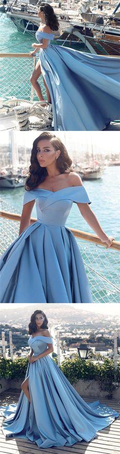 light blue prom dress,baby blue prom dress,elegant prom dress,split prom dress,long evening gowns,long prom dresses 2018