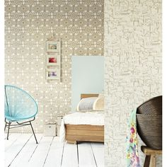 A bohemain chic ikat floral wallpaper in a pretty taupe hue Inspired by the island of Ibiza 330235 Taupe Ikat Floral - Valencia - Eijffinger Wallpaper