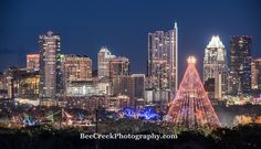 Every year in Austin they light up the christmas tree (actually a moon light towers that they string light off of in  Zilker Park and across the street they have the annual Trail of Lights A city spectacular every holiday season.  In this photo I was able to capture both the light from the Christmas tree and the trail of lights together.