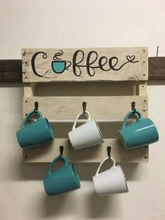 Coffee Mug Rack Handmade coffee rack. Holds 5 coffee mugs. Items are stained and waxed. Different stains available. Hand painted wording ( no stencils used). Measures approximately 17 L and Coffee Mug Rack Handmade c