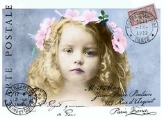 Vintage girl postcard digital collage p1022 Free for personal  use <3