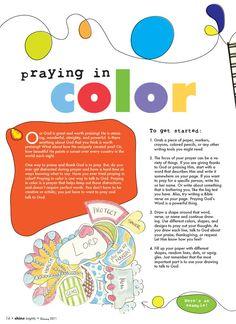 Instructions on how to pray in color.