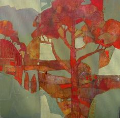 """Mary Carton - """"Trees IV"""" - Acrylic, painted sides - Green with Red Trees - Texture - Abstract - Graphic - Applications?"""