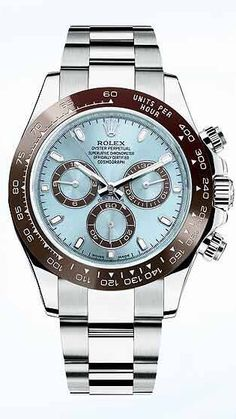 "Baselworld 2013, Rolex introduced the Cosmograph Daytona 50th Anniversary Edition. Ice-Blue Dial and Chestnut Brown Ceramic Bezel. Rolex called this their  ""Prestigious Edition"".  Very Desirable, Very Exquisite and Very Expensive!!"