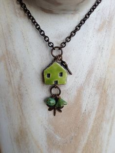 Green Ceramic House Necklace Czech Bead by YoursBlissfullyToo
