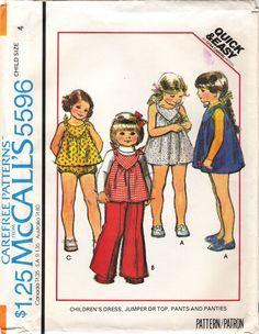 McCalls' 5596 Children's Dress, Jumper, Top, Pants and Panties