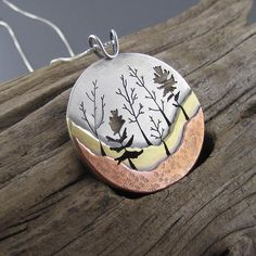 Big Heritage Trail Woodland Forest Mixed Metal Pendant - Beth Millner Jewelry