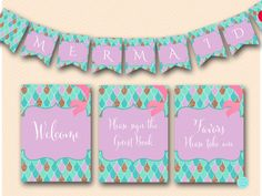 Little Mermaid Bridal Shower Ideas Signs Ideas Mermaid Baby Shower Decorations, Mermaid Bridal Showers, Bridal Shower Signs, Baby Shower Signs, Boy Baby Shower Themes, Baby Shower Items, Printable Bridal Shower Games, Shower Banners, Baby Mermaid