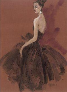 Fashion illustration by Steven Stipelman , 1996, Black Dress.