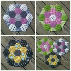 "EPP hexagons! Grandmothers Flowers - love this ""outer ring"" idea"