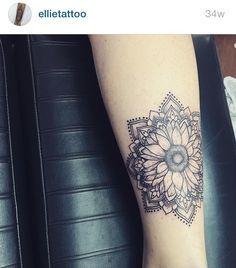 Tattoo womens hippie boho mandala sunflower flower