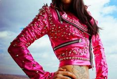Where can I buy this?! Pink leather studded jacket,