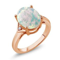 4.02 Ct Oval White Simulated Opal White Topaz 18K Rose Gold Plated Silver Ring, Women's, Size: 5