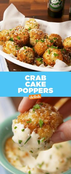 Crab Cake Poppers are THE party app of all party apps. Get the recipe at Delish…. Crab Cake Poppers are Crab Recipes, Spicy Recipes, Greek Recipes, Pork Recipes, Baby Food Recipes, Mexican Food Recipes, Slow Cooker Recipes, Healthy Recipes, Cooking Recipes