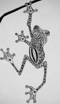 Tattooed Tree Frog - Zentangle Drawing by Jani Freimann - Tattooed Tree Frog - Zentangle Fine Art Prints and Posters for Sale