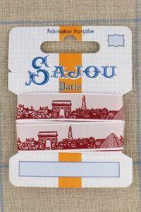 Sajou Paris ribbon 1 metre card red motif on white base