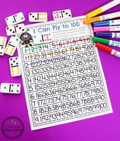 Looking for fun Counting to 100 Activities? Check out these fantastic hands on math centers and worksheets for extra practice. Number Worksheets Kindergarten, Kindergarten Activities, Fractions, Bingo, Counting To 120, School Games For Kids, Dot To Dot Printables, Dots Game, 100 Chart