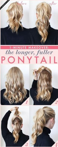 """Comment créer un effet """"cheveux longs"""" en quelques secondes grâce à l'astuce de la double queue de cheval ?"""