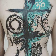Buddha, Om, lotus, Enso, dream-catcher and mandala in this graphic backpiece by Levy Skin and Art. Drug Tattoos, Yoga Tattoos, Tatoos, Elbow Tattoos, Heart Tattoos, Tattoo Trash, Trash Polka Tattoo, Zen Tattoo, Mandala Tattoo