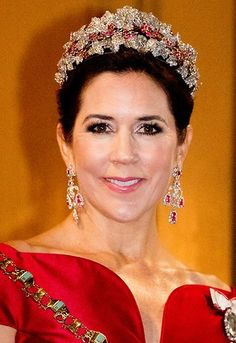 Crown Princess Mary wore Soeren le Schmidt dress, Princess Marie wore Rikke Gudnitz dress and tiara. Princess Elisabeth by Order of the Elephant