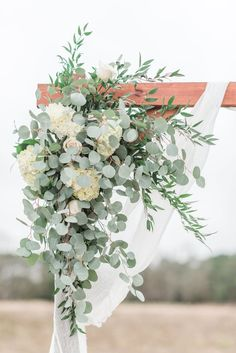Arbor Corner piece - All White Flowers & Greens - Hydrangeas, .- Arbor Corner piece – Alle weißen Blumen & Grün – Hortensien, Rosen, Eucalytpu Arbor Corner piece All white flowers & green hydrangeas roses Eucalytpu - Vintage Wedding Flowers, Flower Bouquet Wedding, Floral Wedding, Hydrangea Wedding Flowers, Wedding Arbors, Wedding Ceremony Arch, Wedding Arch Greenery, White Wedding Arch, Green And White Wedding Flowers